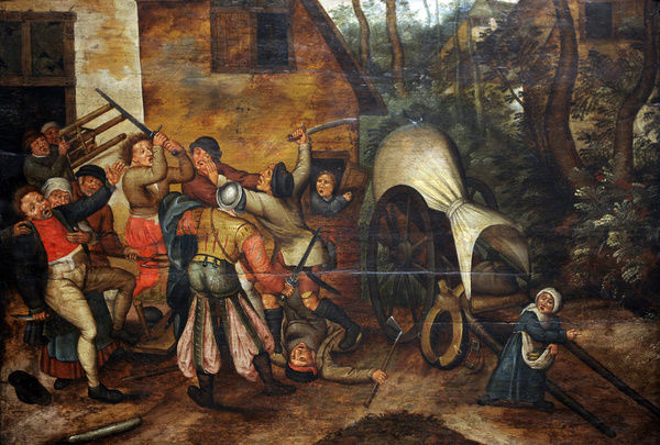 Affray between Peasants and Soldiers by Pieter Brueghel the