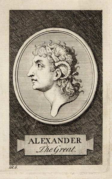 Alexander the Great, King Alexander III of Macedon, wearing the horns signifying his descent from Jupiter-Ammon who was worshipped as a ram