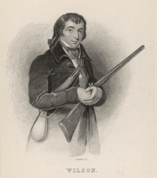 Alexander Wilson, Scottish-American poet, ornithologist, naturalist and illustrator, seen here with a rifle