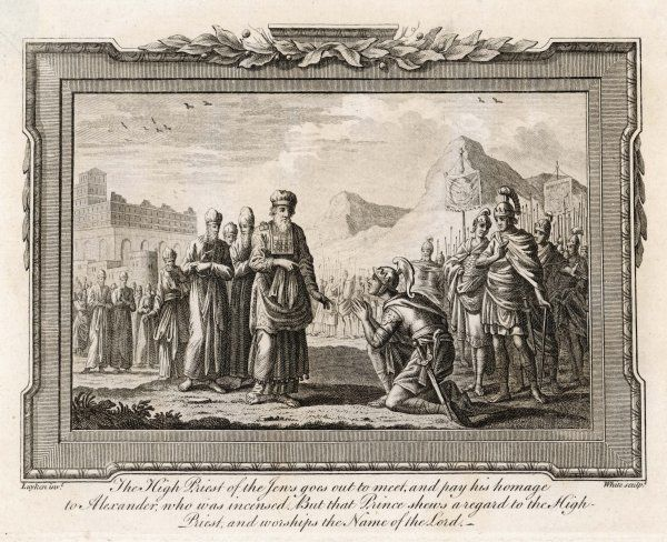 ALEXANDER THE GREAT in 331 BC and Jewish High Priest show mutual respect