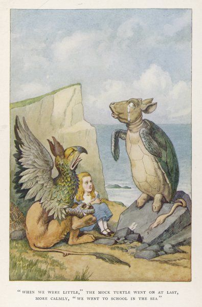 "Alice spends some time with the Gryphon and the Mock Turtle. ""When we were little,"" the Mock Turtle said, ""we went to school in the sea&quot"