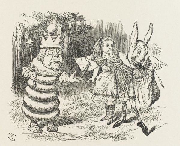 ALICE,KING,RABBIT. WHITE KING Alice and the White King and Rabbit Messenger