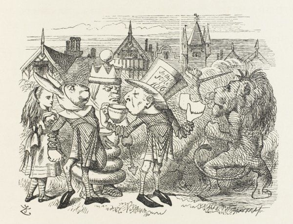 The Hatter, with Alice, the White King, the Rabbit Messenger and the Lion