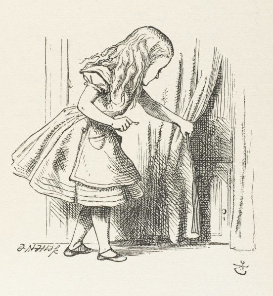 ALICE PULLS CURTAIN. ALICE Alice draws back the curtain to reveal a little door