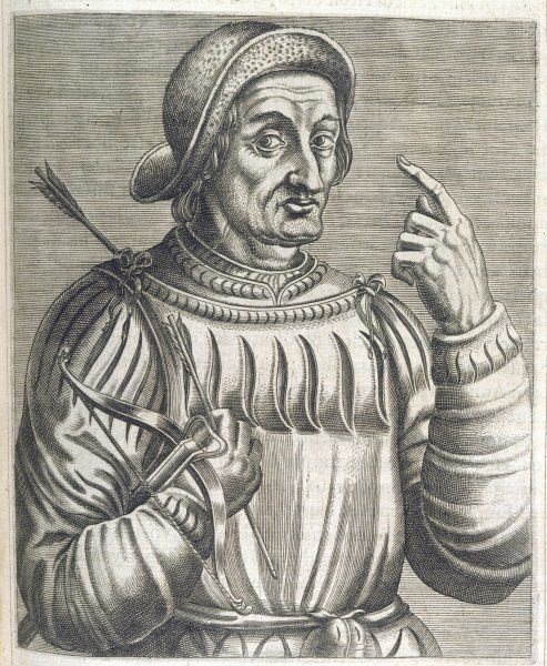 An alleged portrait of William Tell, the mythical Swiss folk hero. He lived, supposedly, in the early 14th century
