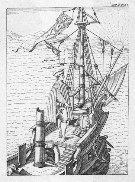 AMERIGO VESPUCCI Italian navigator, depicted on the deck of his ship, using navigation instrument