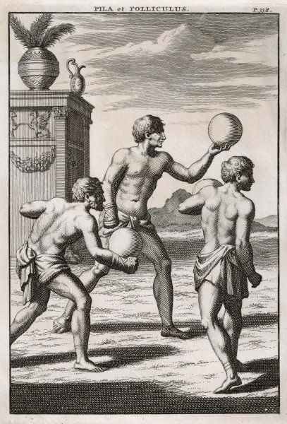 Ancient Roman athletes playing handball