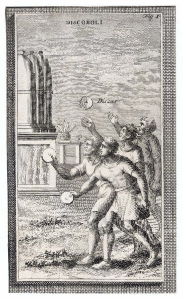 Ancient Roman athletes throwing the discus