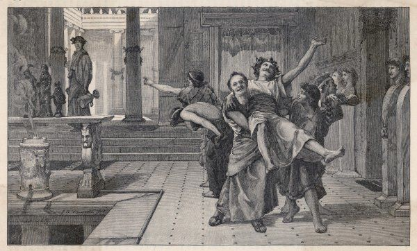 An Ancient Roman noble and his friends celebrate the Saturnalia, 17-19 December
