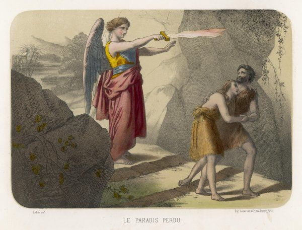 An angel brandishes her sword while she watches Adam and Eve slink out of Paradise