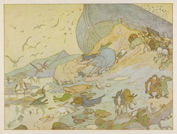 ANIMALS DISEMBARK. NOAH'S ARK - The animals are glad to on terra firma once more