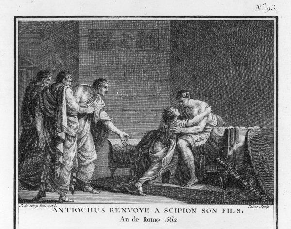 Antiochus III of Syria, though an enemy, returns the Roman leader Scipio Africanus's captured son without demanding a ransom