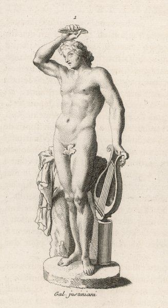 APOLLO WITH LYRE. holding a lyre and dressed in a fig-leaf