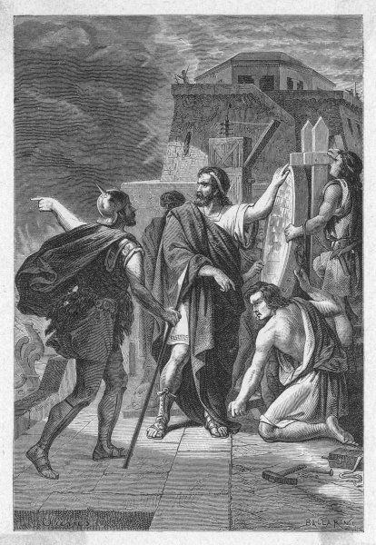 Archimedes, Greek mathematician and inventor, demonstrating the use of reflecting mirrors to set fire to enemy ships