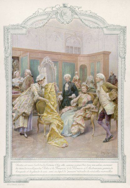 An aristocratic French lady chooses fabrics chez Bertin, known as Le Ministre des Modes