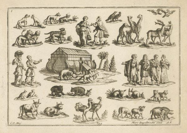 ARK AND ANIMALS. Noah's Ark and some of its passengers
