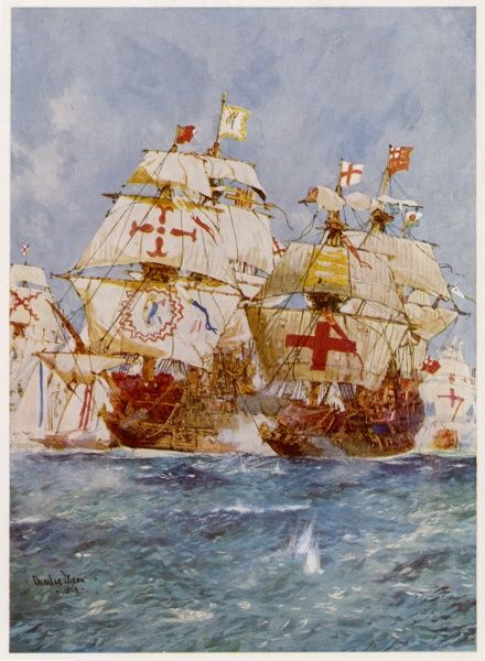 THE SPANISH ARMADA Lord Howard in the 'Ark Royal' attacks Medina Sidonia in the 'San Martin'