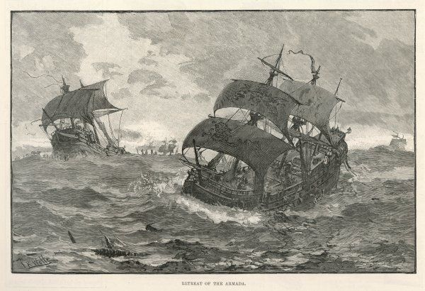 THE SPANISH ARMADA The retreat of the Spanish fleet after encountering the Navy, the fireships and the storms