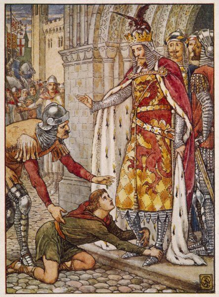 ARTHUR WITH OWAIN. Owain, son of Morgan Le Fay, appeals to his uncle, King Arthur