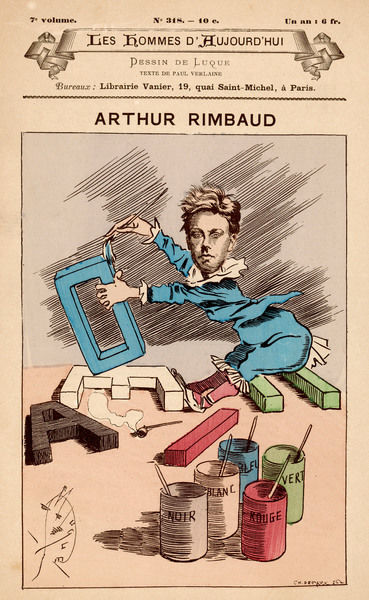 JEAN-NICOLAS-ARTHUR RIMBAUD Cartoon of the French poet and leading influence on Symbolist movement
