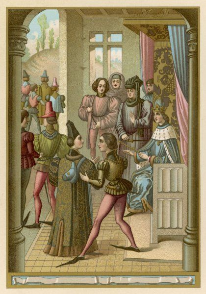 Philippe VI, assembled with his barons, prepares to defend his throne against the English who contest his right, thus initiating the Hundred Years War