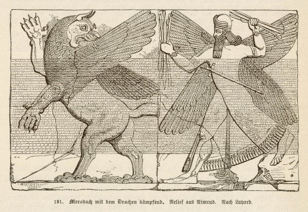 ASSYRIAN DRAGON. In ancient Assyria, Merodach does battle with a dragon