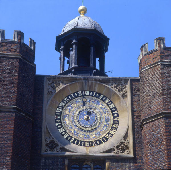 Astronomical Clock - Hampton Court Palace, London. Installed in 1540 on the gatehouse to the inner court. Designed by Nicholas Crazter and made by Nicholas Oursian, this pre-Copernican and pre-Galilean astronomical clock is still functioning