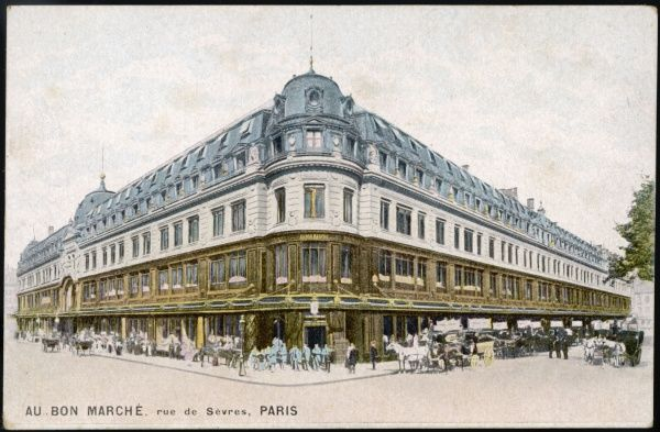Exterior view of the Au Bon Marche department store in the Rue de Sevres, Paris, France