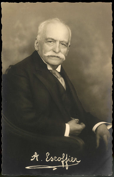 AUGUSTE ESCOFFIER French Chef. Director of Kitchen for many large Hotels. Known for his culinary innovations