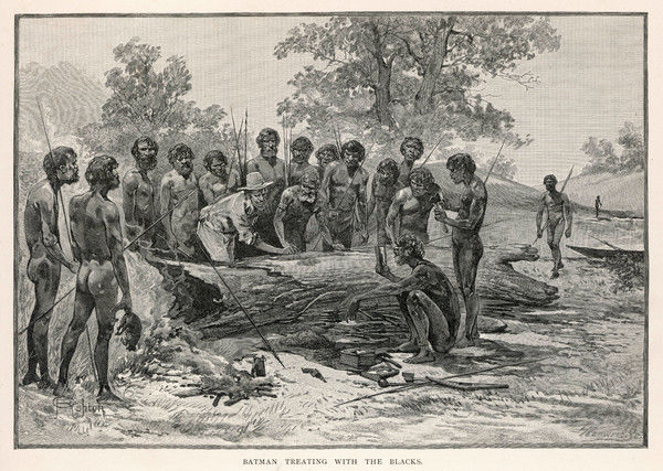 JOHN BATMAN (1800-1827) negotiates with the aborigines of Victoria