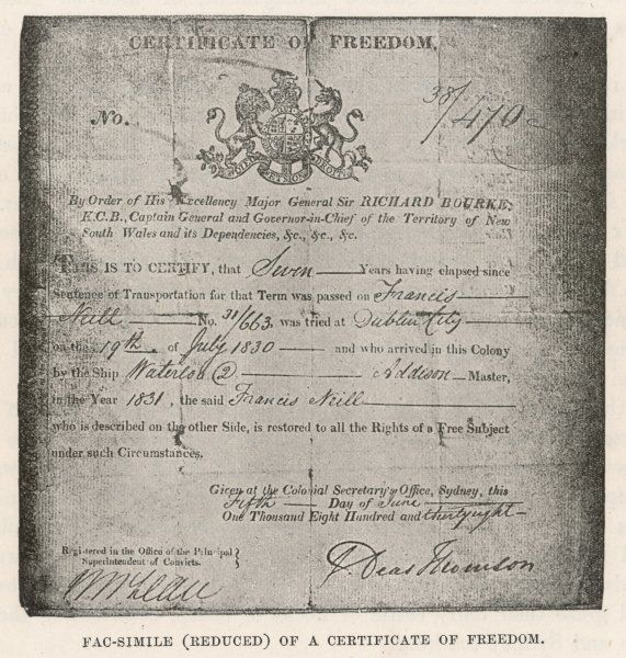 Certificate of Freedom issued to Francis Mill in Sydney