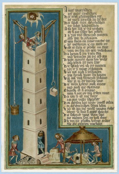 Jesus, from Heaven, looks down apprehensively as the builders of the Tower of Babel come disconcertingly close