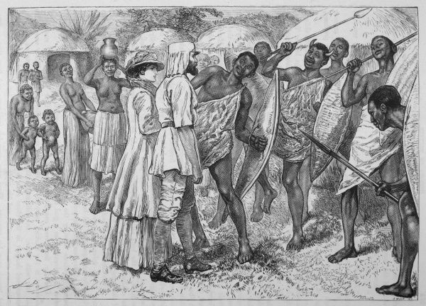 Samuel and Lady Baker welcomed by natives near Karuma falls