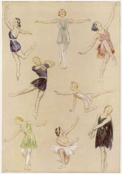 Ballet dancers exercising