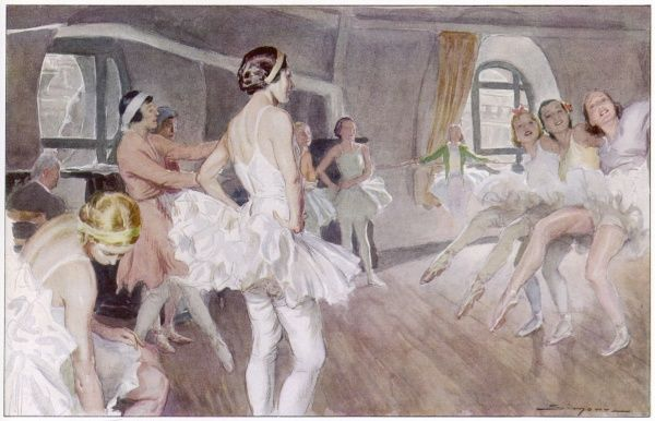 Ballet dancers from the French Academie de Musique et de Danse rehearsing Coppelia (music by Delibes). Mademoiselle Carlotta Zambelli, Italian dancer and teacher, is in pink on the left