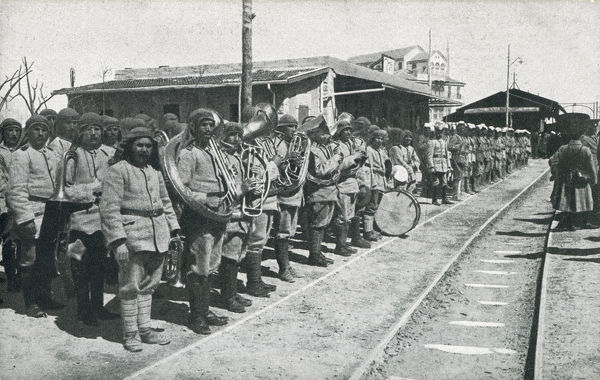 Band of the Turkish Ottoman Army in Palestine awaits the arrival into the Railway Station of Djemal Pasha