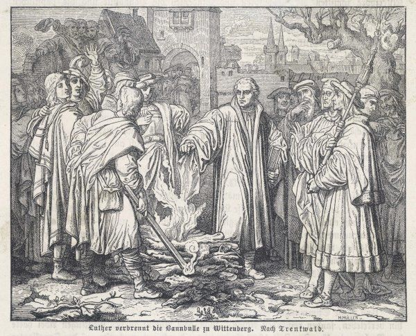 Martin Luther burns the papal bull ('Bannbulle') at Wittenberg