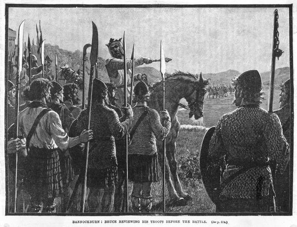 Before the battle, King Robert de Bruce VIII reviews the Scottish army, who proceed to defeat the English