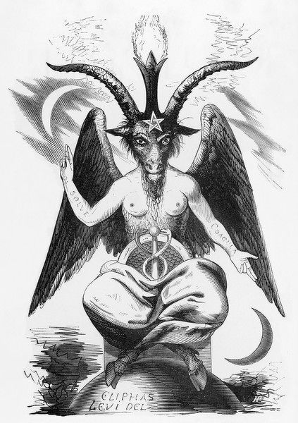 "Baphomet - associated with a ""Sabbatic Goat"" image drawn by Eliphas Levi (shown here), containing binary elements representing the ""sum total of the universe"" (e"