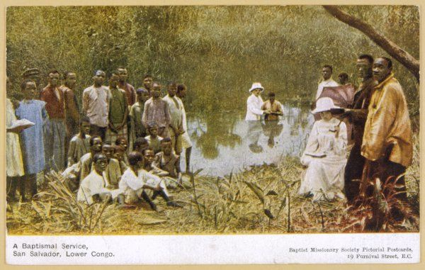 Baptist missionaries conduct a baptism ceremony at San Salvador, Lower Congo