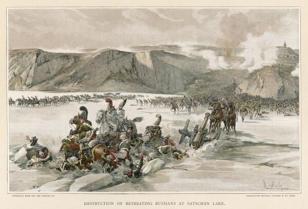 BATTLE OF AUSTERLITZ Russians retreat across the frozen lake Satschan but Napoleon's cannons shatter the ice and 4000 are drowned