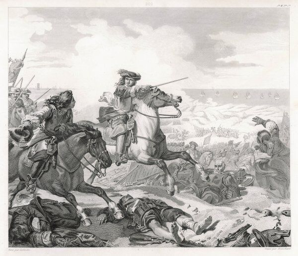 The French and English forces defeat the Spanish at the Battle of the Dunes