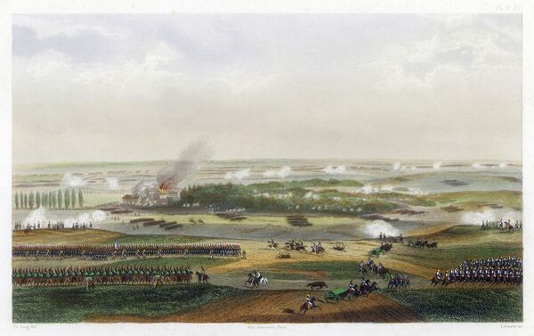 THE HUNDRED DAYS Battle of WATERLOO The action at 11 am - the French attack Houguemont, Napoleon tempting Wellington to expose his centre