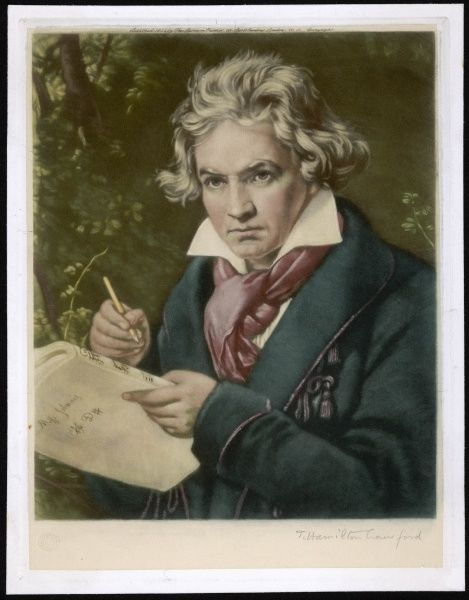 LUDWIG VAN BEETHOVEN German composer Portrait of him holding a score