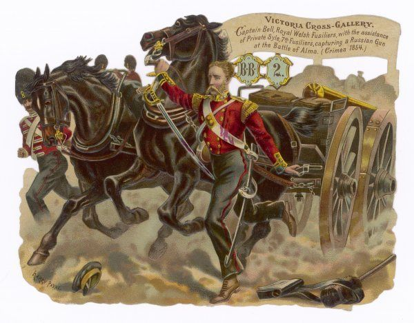 Captain Bell of the Royal Welsh Fusiliers captures a Russian gun at the Battle of Alma. He was awarded the Victoria Cross