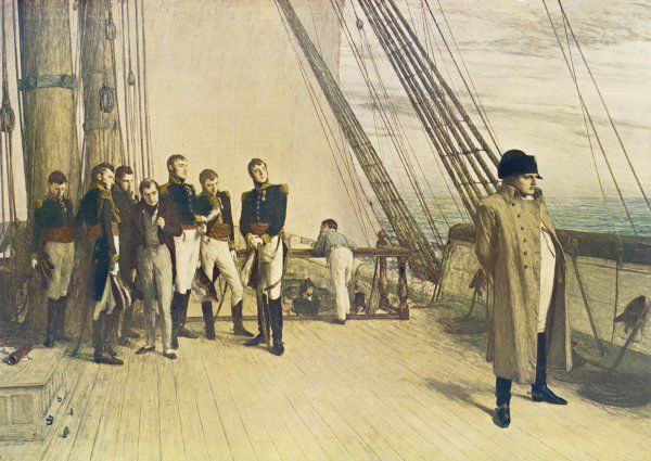 On the deck of the 'Bellerophon', sailing to exile on Saint Helena, he is watched by the British officers