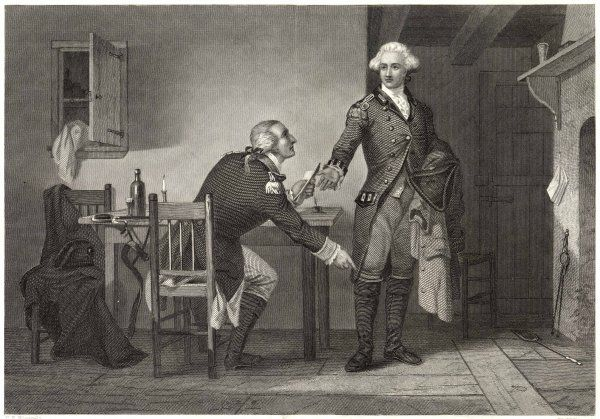 Benedict Arnold persuades Major Andre to conceal papers in his boot, causing him to be hanged as a spy when captured by the patriots