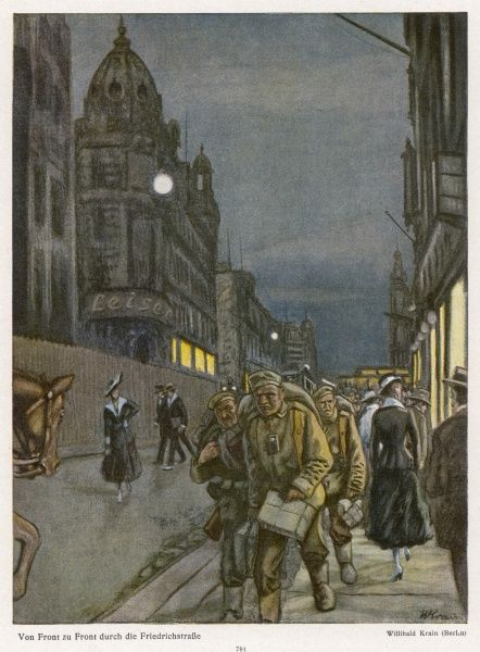 Berlin during World War One - scene in the Friedrichstrasse