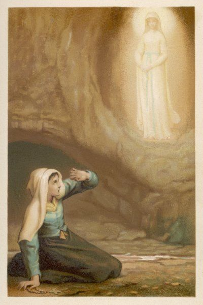Bernadette Soubirous, while gathering firewood, suddenly sees the Virgin Mary in the grotto