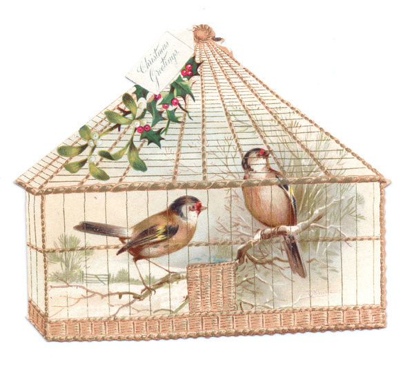 Two birds in a cage on a cutout Christmas card